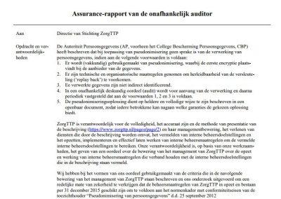 Assurance-rapport van de onafhankelijk auditor
